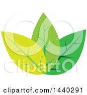 Clipart Of A Trio Of Green Leaves Royalty Free Vector Illustration