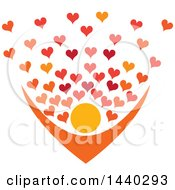 Clipart Of A Nurturing Person With Love Hearts Royalty Free Vector Illustration