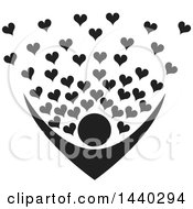 Clipart Of A Black And White Nurturing Person With Love Hearts Royalty Free Vector Illustration