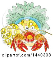 Clipart Of A Cartoon Hermit Crab And Anemone Royalty Free Vector Illustration