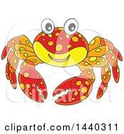 Clipart Of A Cartoon Happy Crab Royalty Free Vector Illustration