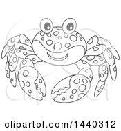 Cartoon Black And White Lineart Happy Crab