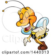 Clipart Of A Cartoon Bee Laughing Royalty Free Vector Illustration