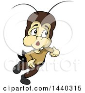 Clipart Of A Cartoon Cricket Royalty Free Vector Illustration by dero