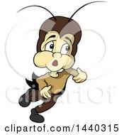 Clipart Of A Cartoon Cricket Royalty Free Vector Illustration