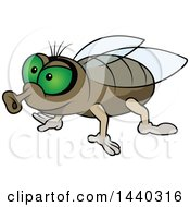 Clipart Of A Cartoon Fly Royalty Free Vector Illustration