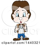 Clipart Of A Surprised Brunette School Boy Holding Onto His Backpack Straps Royalty Free Vector Illustration by dero