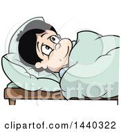 Clipart Of A Cartoon Boy In Bed Royalty Free Vector Illustration