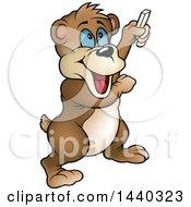 Cartoon Happy Bear Holding Chalk