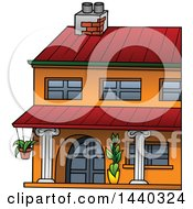 Clipart Of A Cartoon Building Or House Royalty Free Vector Illustration