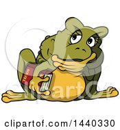 Clipart Of A Cartoon Toad Thinking And Holding A Book Royalty Free Vector Illustration by dero