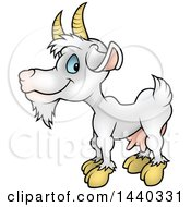 Clipart Of A Cartoon White Goat Royalty Free Vector Illustration