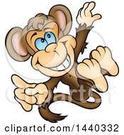Clipart Of A Cartoon Happy Monkey Jumping Royalty Free Vector Illustration by dero
