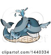 Clipart Of A Cartoon Happy Whale Spouting Royalty Free Vector Illustration by dero