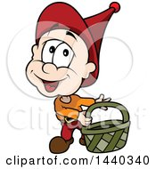 Clipart Of A Cartoon Sprite Carrying A Basket Royalty Free Vector Illustration by dero