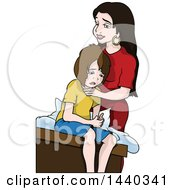 Clipart Of A Cartoon Mother Comforting Her Son Royalty Free Vector Illustration