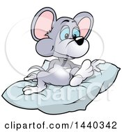 Clipart Of A Cartoon Mouse On A Blanket Royalty Free Vector Illustration