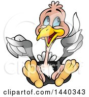 Clipart Of A Cartoon Ostrich Holding Up A Feather Royalty Free Vector Illustration