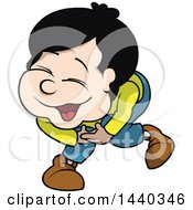 Clipart Of A Cartoon Boy Laughing Royalty Free Vector Illustration by dero