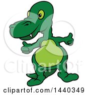 Clipart Of A Cartoon Dinosaur Giving Two Thumbs Up Royalty Free Vector Illustration