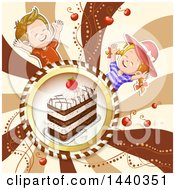 Cake In A Frame With Celebrating Children