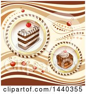 Background With Cherries And Cake