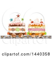 Clipart Of A Layered Cake Train Royalty Free Vector Illustration by merlinul