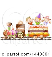 Clipart Of A Group Of Kids Riding A Cake Train Royalty Free Vector Illustration by merlinul