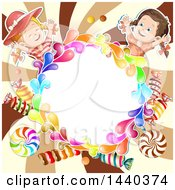 Colorful Splash Circle Frame With Candy And Girls