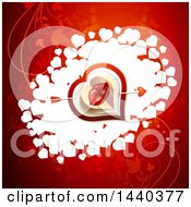Poster, Art Print Of Pair Of Kissing Lips With Cupids Arrow Over Hearts On Red