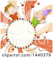Round Candy Frame And Boys Over Swirls