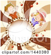 Round Candy Frame And Children Over Swirls