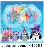 Clipart Of A Party Penguin Family Royalty Free Vector Illustration
