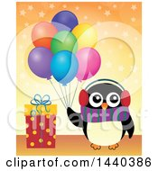 Poster, Art Print Of Party Penguin Holding Balloons By A Gift