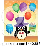 Poster, Art Print Of Party Penguin Holding A Gift