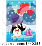 Poster, Art Print Of Penguin Holding Heart Balloons With A Valentine Gift On Ice