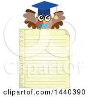 Clipart Of A Wise Professor Owl Flying With A Sheet Of Ruled Paper Royalty Free Vector Illustration by visekart