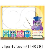 Clipart Of A Wise Professor Owl And Students At A White Board Royalty Free Vector Illustration by visekart