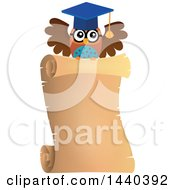 Clipart Of A Wise Professor Owl Flying With A Parchment Scroll Royalty Free Vector Illustration by visekart