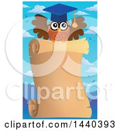 Clipart Of A Wise Professor Owl Flying With A Parchment Scroll Royalty Free Vector Illustration