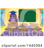 Clipart Of A Wise Professor Owl In A Class Room Royalty Free Vector Illustration by visekart