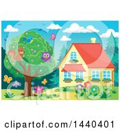 Clipart Of A Bird Swuirrel And Owl In A Tree By A House Royalty Free Vector Illustration by visekart