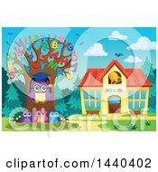 Clipart Of A Wise Professor Owl And Students With An Alphabet Tree Royalty Free Vector Illustration by visekart