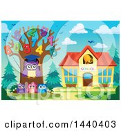 Clipart Of A Wise Professor Owl And Students With A Number Tree Royalty Free Vector Illustration by visekart