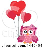 Clipart Of A Pink Valentine Owl Holding A Heart Balloon Royalty Free Vector Illustration