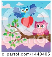 Clipart Of A Pink Valentine Owl Receiving A Valentine Royalty Free Vector Illustration