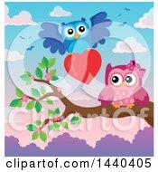 Pink Valentine Owl Receiving A Valentine