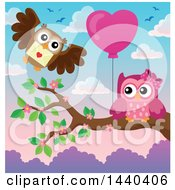 Clipart Of A Pink Owl Holding A Heart Balloon And A Brown Owl Delivering A Valentine Royalty Free Vector Illustration