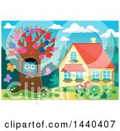 Clipart Of A Sweet Owl Holding A Heart In A Tree With Heart Foliage Royalty Free Vector Illustration
