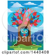 Clipart Of A Sweet Owl Holding A Heart In A Tree With Heart Foliage Royalty Free Vector Illustration by visekart